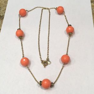 JCREW Long Coral Bead Necklace